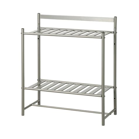 Metal Bathroom Shelves Shop Zenna Home Simple Storage 2 Tier Satin Nickel Metal Bathroom Shelf At Lowes
