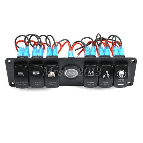 6 Led Driving Light Bar Rocker Switch Printed Panel