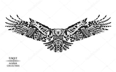 zentangle stylized eagle sketch for tattoo or t shirt