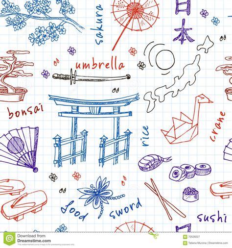 doodle japan doodle japan symbols seamless pattern stock