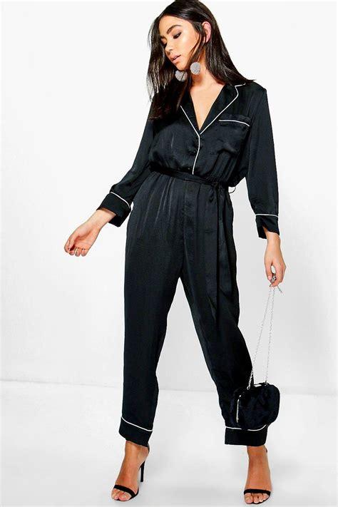 jumpsuit styles new boohoo womens jen contrast piping pyjama style
