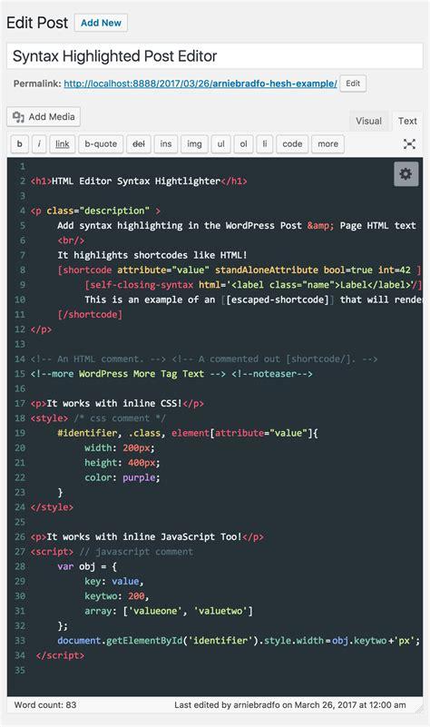 wordpress theme editor mac html editor syntax highlighter wordpress plugins