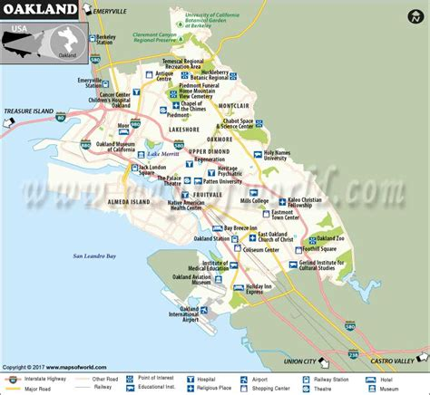 oakland usa map oakland city map oakland california map