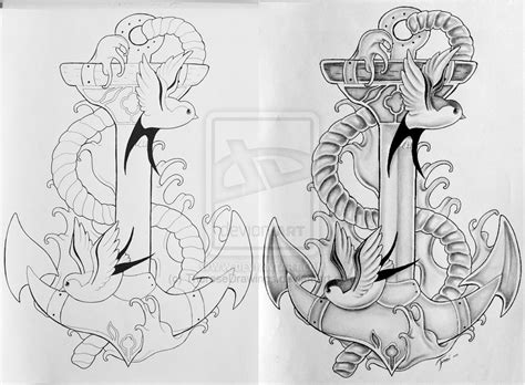 swallow and anchor tattoo designs anchor with swallows design by theresedrawings on