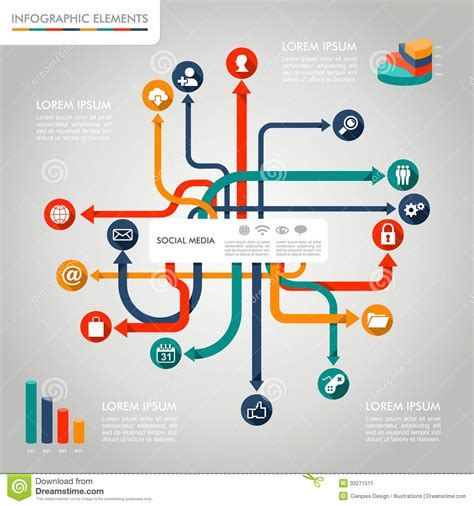 graphic diagram social media infographic template graphic elements