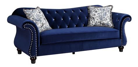 Jolanda Button Tufted Blue Fabric Sofa Tufted Blue Sofa