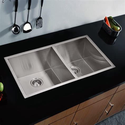 Modern Undermount Kitchen Sinks Water Creation 60 40 Bowl Stainless Steel Undermount Kitchen Sink 33 X 2 Contemporary