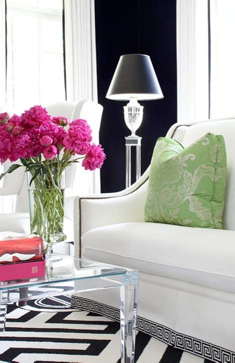 black and pink living room greek key sofa contemporary living room kellie burke
