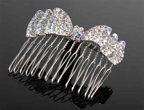 bridal tiara prom rhinestone crystal hair pin comb heart crown iridescent rhinestone bow hair comb wedding tiaras and