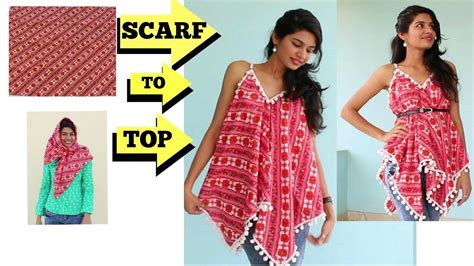7 Ideas To Convert Summer Clothes To Fall by 5 Min Convert Scarf Into Top Diy Refashion Clothes