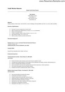 Youth Resume Sles by Doc 700990 Cv Exles Youth Work Bizdoska
