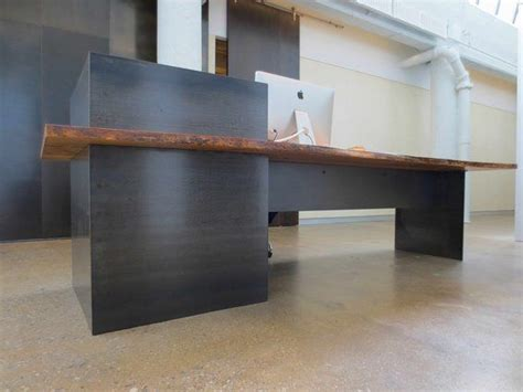 Industrial Reception Desk Custom Made Metal Modern Industrial Plate Steel Reception Desk With Maple Live Edge Slab Top