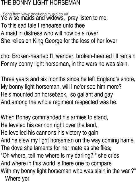 Irish Music, Song and Ballad Lyrics for: The Bonny Light