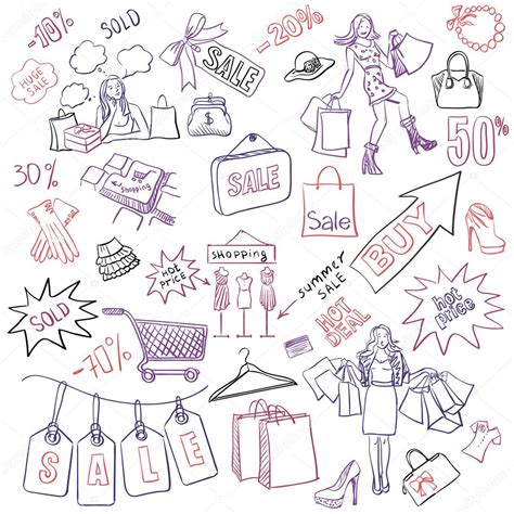 doodle shopping shopping doodles sale style stock vector