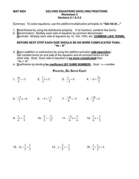 Solving Equations With Fractions Worksheet by 14 Best Images Of Multi Step Equations Worksheets With