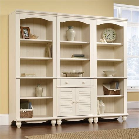 library wall bookcase in antiqued white 158082 158085 3pkg