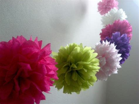 How To Make Tissue Paper Pom Pom Garland - garden tissue paper flower wedding garland 1st birthday