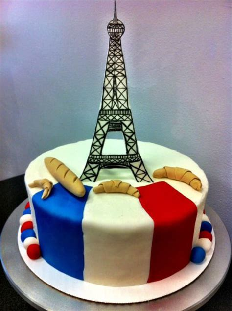 french cake with gum paste eiffel tower, baguette