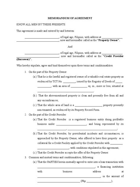 Letter Of Agreement For Pawning Memorandum Of Agreement Blank Form Credit Finance