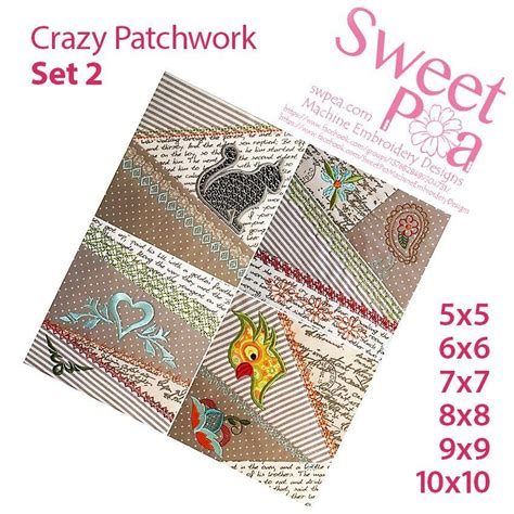 embroidery design 10x10 crazy patchwork quilt blocks set 2 5x5 6x6 7x7 8x8 9x9
