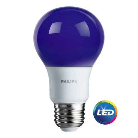 Led Light Bulb Equivalent Philips 60w Equivalent Purple A19 Led Light Bulb 463208 The Home Depot