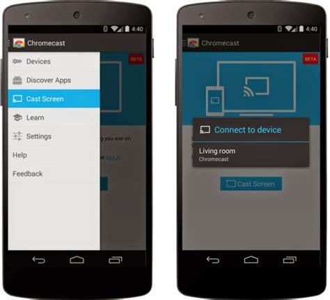 chromecast apk apk chromecast app update activates cast screen feature for android devices