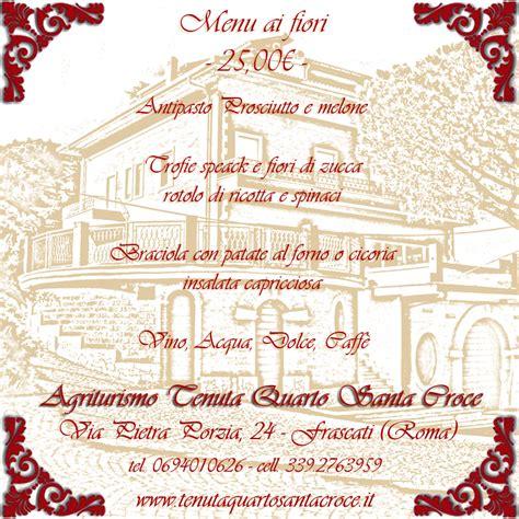 ai fiori menu ristorante agriturismo castelli romani tenuta quarto