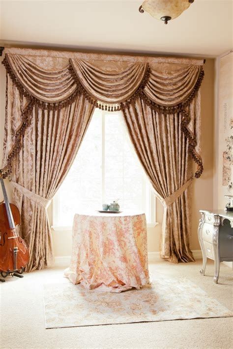 curtains seattle baroque floral valance curtains with swags and tails