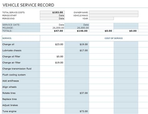 vehicle service record office templates
