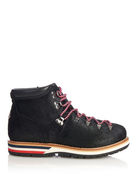 moncler boots moncler lace up calf hair ankle boots in black lyst