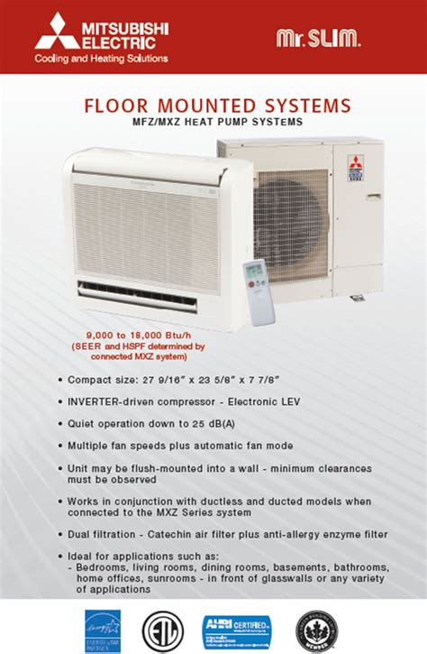 mitsubishi mini floor unit floor mounted air conditioner air conditioner