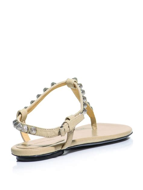 lyst balenciaga arena studded flat sandals in