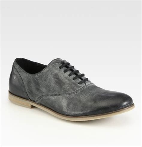 diesel leather laceup shoes in black for lyst