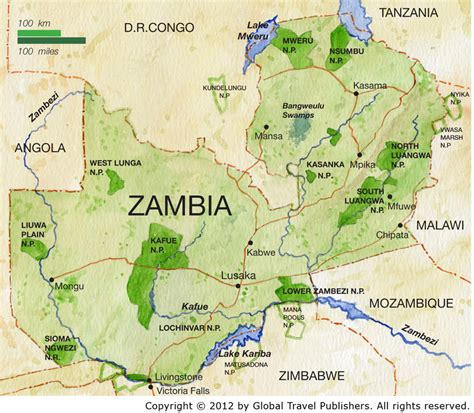 zambia map zambia best safari tours