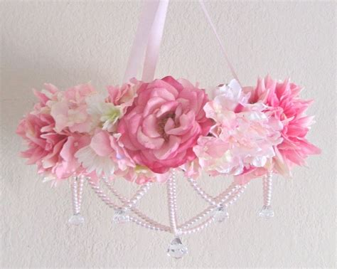 Baby Mobile Flower Crib Mobile Floral Chandelier Shabby Chandelier Baby Mobile