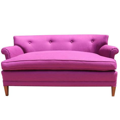pink loveseat 1960s raspberry pink linen settee loveseat with curved