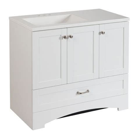 Home Depot Bathroom Vanities Canada by Glacier Bay Lancaster 36 Inch W Vanity Combo In White Finish The Home Depot Canada