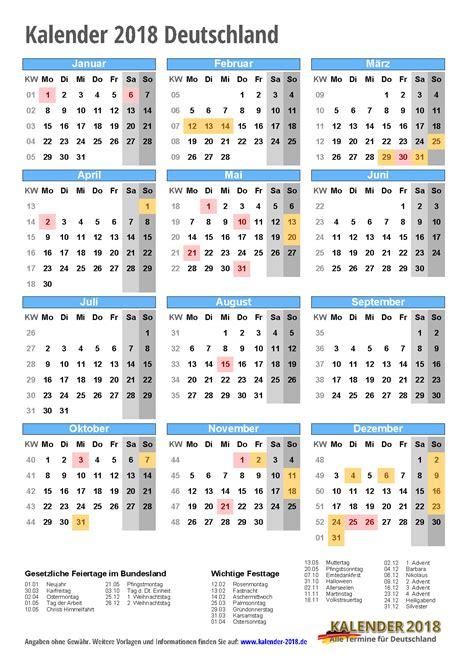 Kalender 2018 Schulferien Deutschland Kalender 2018 Mit Feiertagen Ferien Kalenderwochen