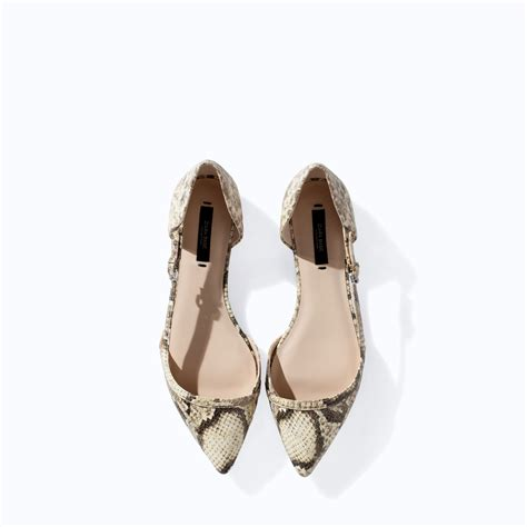Shannon Rev Shoulder Hush Puppies by Zara Pointed Snakeskin Flat Shoes In Lyst