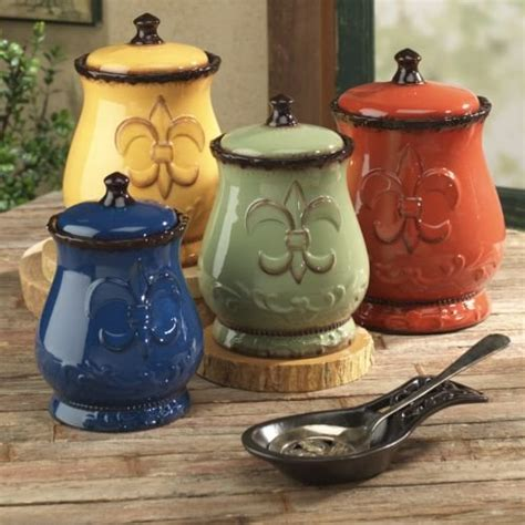 Tuscan Canisters Kitchen Tuscany Colorful Hand Painted Fleur De Lis Canisters Set