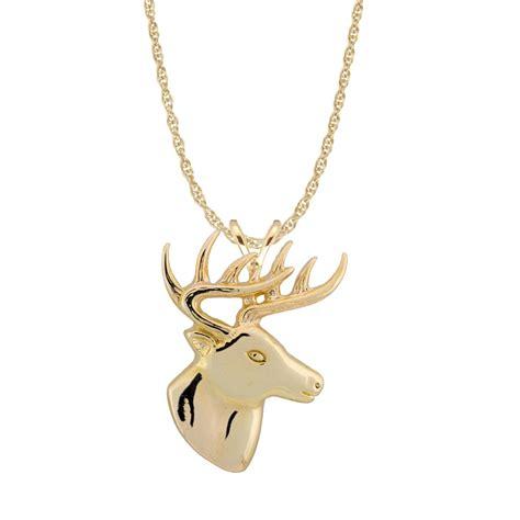 ster 10k gold large deer necklace 150904