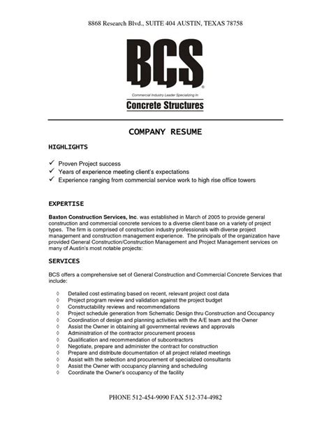 Construction Company Resume Template by 1000 Images About Resume On Physical Therapy