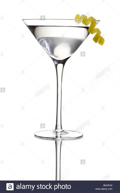 gin martini vodka or gin martini with lemon twist garnish on a white