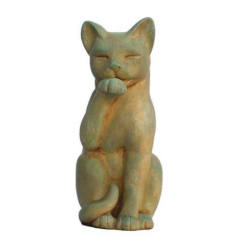 cast stone contented cat garden statue weathered bronze