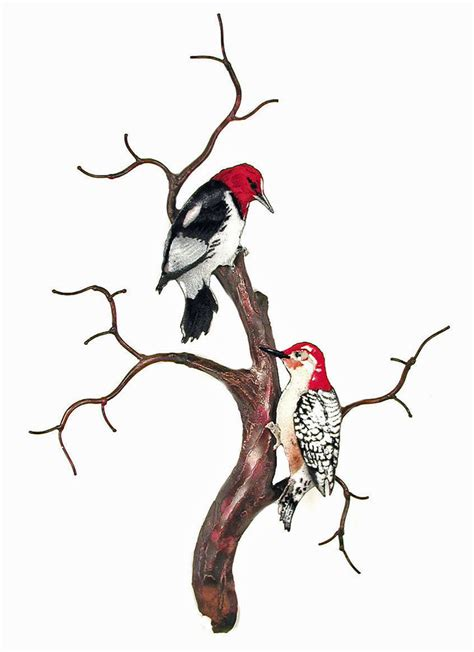 wall woodpeckers on bare branch tree metal wall