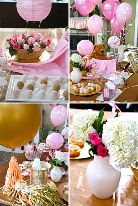 Pink and gold hot air balloon themed baby shower the little umbrella