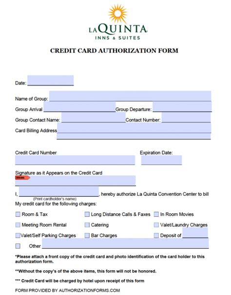 Credit Card Authorization Form Template For Hotel by Free La Quinta Hotel Credit Card Authorization Form Pdf