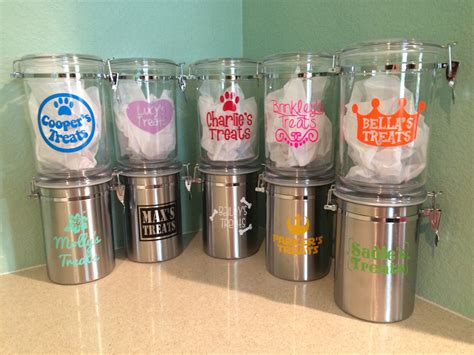 treat container personalized treat jars stainless steel acrylic cookie jars with pet s name