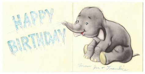 Elephant Birthday Cards Vintage Baby Elephant Birthday Greeting Card Vintage