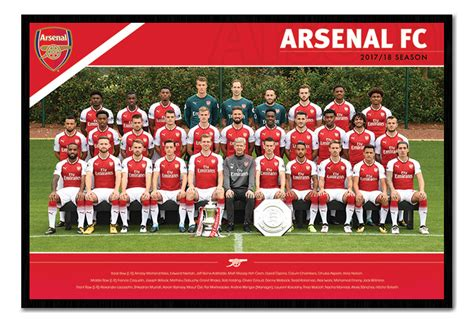 framed arsenal fc official team photo 2017 2018 season poster ebay